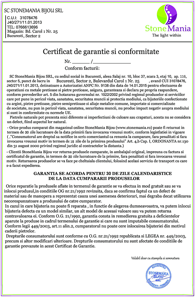 Certificat de garantie pietre semipretioase