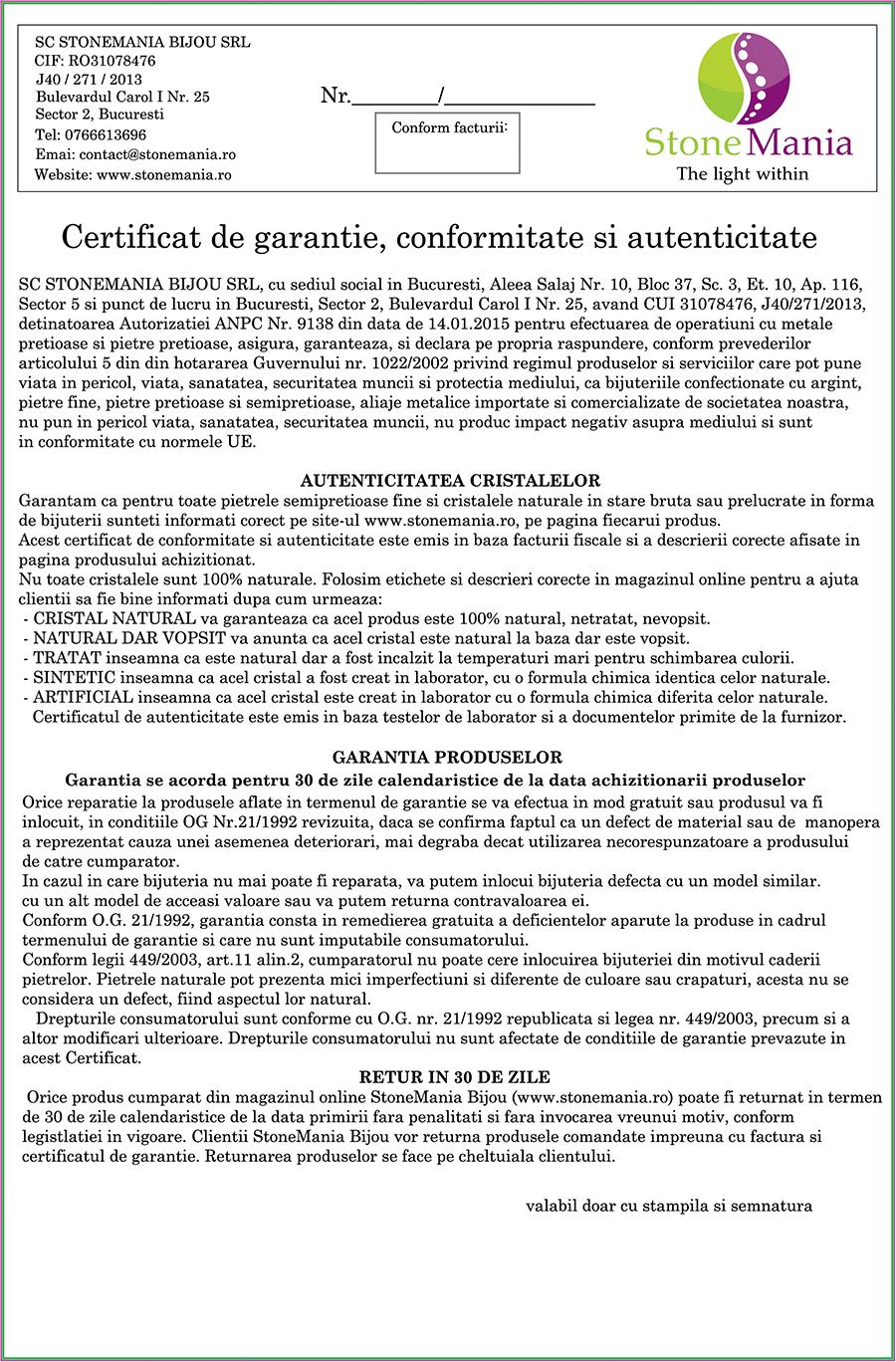 Certificat de garantie si conformitate StoneMania Bijou