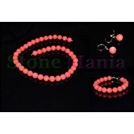 Set coral roz sfere 10mm