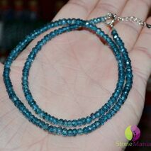 Colier topaz blue dark disc 4mm si argint 925