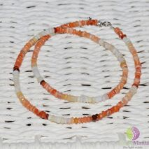 Colier opal orange discuri 4mm si argint 925
