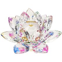 Floare de lotus Multicolor din cristal de sticla - 8cm
