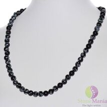Colier obsidian sfere 6mm
