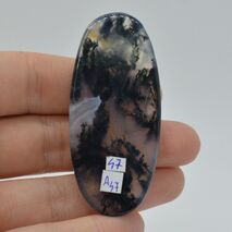 Cabochon agat moss 60x27x6mm A47, imagine 2