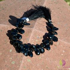 Sirag spinel negru briolete fatetate manual 12-18mm M1