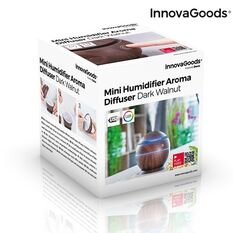 Mini difuzor ultrasonic InnovaGoods NUC, 130 ml, functie de umidificator, aroma difuzor, purificator aer, USB