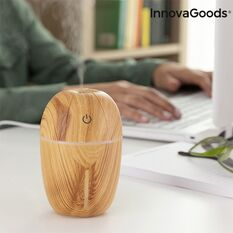 Mini difuzor ultrasonic InnovaGoods Honey Pine, 180 ml, functie de umidificator, aroma difuzor, purificator aer, USB